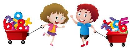 Мальчик и девушка вытягивая фуру номеров Стоковые Изображения