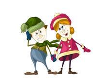 Мальчик и девушка в влюбленности на изолированной белизне Стоковое Изображение
