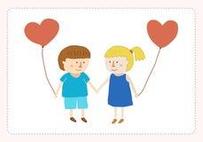Мальчик и девушка в карточке влюбленности Стоковое Изображение