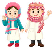 Мальчик и девушка в костюме Кувейта иллюстрация штока