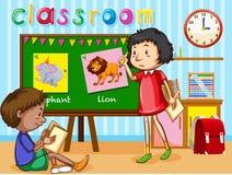 Мальчик и девушка в классе иллюстрация штока