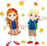 Мальчик и девушка готовые к школе иллюстрация штока