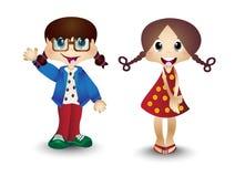 Мальчик и девушка, дети, дети Стоковые Изображения