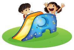 Мальчик и девушка играя счастливо иллюстрация вектора