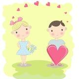 Мальчик и девушка иллюстрации любящие Стоковая Фотография RF