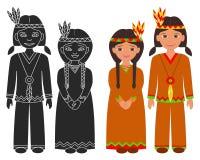 Мальчик и девушка коренного американца индийские Стоковое Изображение
