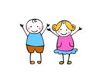 Мальчик и девушка Маленькие люди в стиле ` s детей Переворот вектора иллюстрация вектора