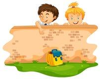 Мальчик и девушка на стене бесплатная иллюстрация