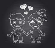 Мальчик и девушка притяжки руки вектора любящие на черной доске Стоковая Фотография RF