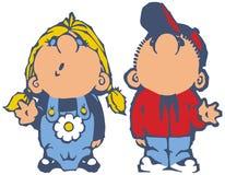 Мальчик и девушка смотря вверх и шарж развевая вектора Стоковое Фото