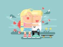 Мальчик и девушка сопереживания иллюстрация штока