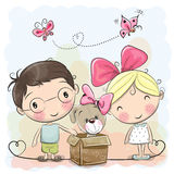Мальчик и девушка с милым щенком бесплатная иллюстрация
