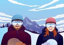 Мальчик и девушка с сноубордом outdoors Стоковые Изображения