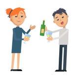 Мальчик и девушка с стеклянными вином и бутылкой иллюстрация штока