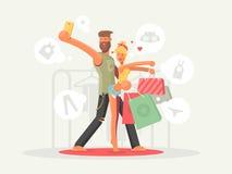 Мальчик и девушка с хозяйственными сумками иллюстрация штока