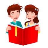 Мальчик и девушка читают книгу. иллюстрация штока