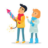 Мальчик и девушка шаржа установили с фейерверка Ракеты Стоковое Изображение