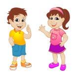 Мальчик и девушка Шарж милых детей смешной Стоковая Фотография RF