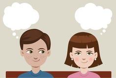 Мальчик и девушка иллюстрация штока