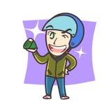 Мальчик или человек держа lemak nasi Стоковые Фотографии RF