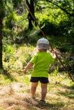 Мальчик и идя на лес лета Стоковое Изображение