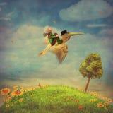Мальчик и коричневый пеликан в небе бесплатная иллюстрация