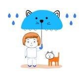 Мальчик и кот под дождем Стоковая Фотография
