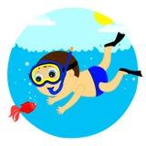 Мальчик и рыбы Иллюстрация вектора