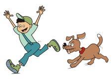 Мальчик и собака, бег Стоковое фото RF