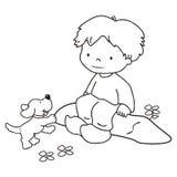 Мальчик и собака, крася Стоковое Изображение RF