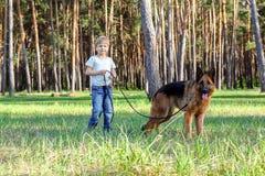Мальчик и собака для прогулки Стоковая Фотография RF