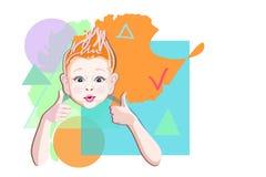 Мальчик иллюстрации вектора с хорошей идеей Стоковое Изображение