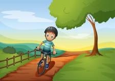 Мальчик идя к ферме с его велосипедом иллюстрация штока