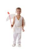 Мальчик как купидон с крылами и красными стрелками Стоковые Фотографии RF