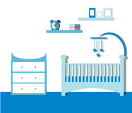 Мальчик комнаты питомника Интерьер комнаты младенца с мебелью Плоский вектор иллюстрация штока