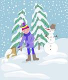 Мальчик копая снег на домашнем пути привода Стоковые Изображения