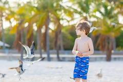 Мальчик маленького ребенка имея потеху на тропическом пляже Стоковые Фото