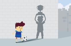 Мальчик мечтая к чемпиону Стоковое Изображение