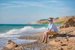 Мальчик моды на пляже Стоковые Изображения RF
