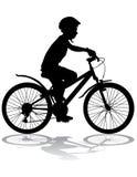 Мальчик на велосипеде Стоковые Фотографии RF