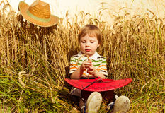 Мальчик на пшенице лета Стоковое Изображение RF