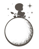Мальчик на луне Стоковое фото RF