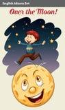 Мальчик над луной иллюстрация вектора