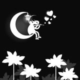 Мальчик на lune. Бесплатная Иллюстрация