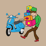 Мальчик носит коробки и самокат Стоковые Фото