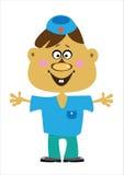 Мальчик доктора шаржа на белизне Стоковое фото RF