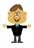 Мальчик офиса шаржа на белизне Стоковая Фотография
