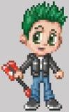 Мальчик панк-рокера аниме искусства пиксела Стоковое Изображение