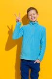 Мальчик показывая знак мира Стоковые Фотографии RF