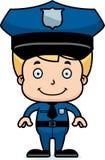 Мальчик полицейского шаржа усмехаясь иллюстрация штока